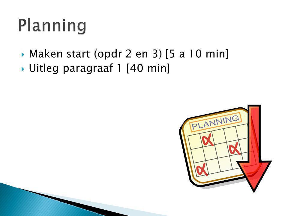 Planning Maken start (opdr 2 en 3) [5 a 10 min]
